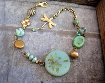 Dragonfly Charm Bracelet, Mint Green, Brass Dragonfly Charm, Bohemian, Garden Style, Botanical Jewelry, Woodland Bracelet, Summer