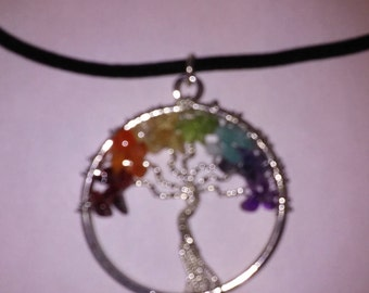 Chakra Wire-Wrapped Tree Pendant Necklace