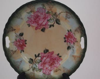 Antique Serving Platter with Handles Pink Roses