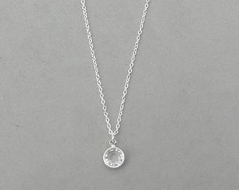 8 mm April Birthstone-Swarovski Crystal Drop Necklace Gold or Silver plated
