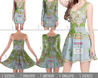 Epcot Park Map Disney World - Dress in XS-3XL - Flared, Bodycon, or Skater Style 000757