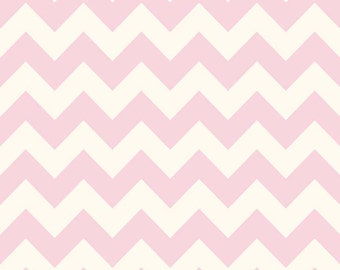 Riley Blake Designs - Medium Chevron On Cream Color 75 Baby Pink - C640-75 BABY PINK
