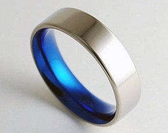 Apollo Band  with Comfort Fit Interior , Mens Wedding Band , Mens Titanium Ring , Mens Promise Ring