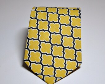 Mens Neckties Boys Necktie Me and Matilda Everyday Necktie Charcoal Grey and Yellow Lattice