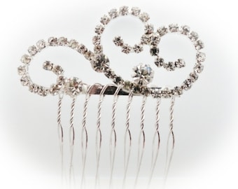 Small swirl design Austrian crystal bridal hair comb perfect for bridesmaids