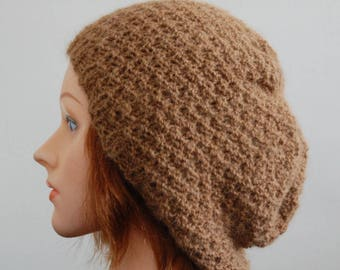 Natural RIAF Soft Warm Hand Crafted Alpaca Slouchy Beanie Hat, Brown