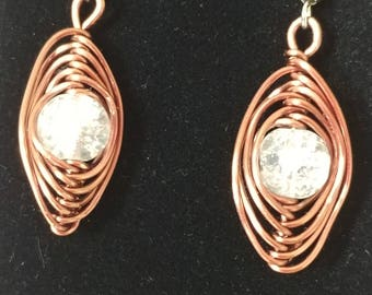 Wire Wrapped Earrings Copper Glass Marble