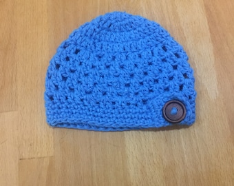 Blue, button beenie