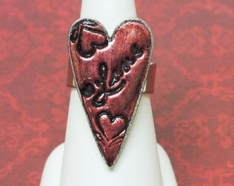 Large Red Heart Love Statement Cocktail Ring Red Silver Adjustable Ring Polymer Clay Jewelry, Whimsical Romantic Fun Jewelry