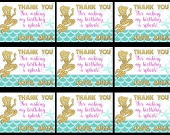 Mermaid Thank You Tags, Mermaid Gift Tags, Thank You Tags, Under the Sea Tags, Mermaid Birthday Tags, Birthday Stickers