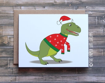 Funny Christmas card, T-Rex short arms, T-Rex Christmas card, Dinosaur Christmas Card, Funny xmas card, Funny Holiday Card