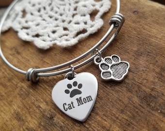 Cat mom gift, cat lover gift, gift for cat mom, gift for cat lover, cat mom jewelry, cat mom charm bracelet, bangle bracelet, crazy cat lady