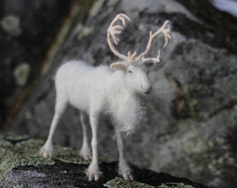 White Reindeer needle felted animal by Noelle Stiles, READY TO SHIP