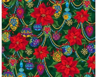 Christmas Splendor Poinsettias on Green by Quilting Treasures