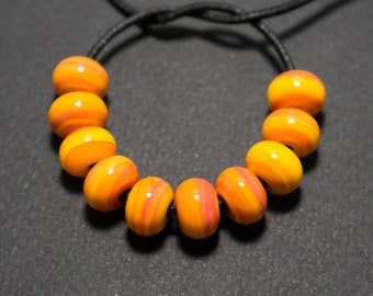 Glass spacer beads set, Apricot yellow lampwork spacer beads, Lampwork beads, Yellow glass spacer, Lampwork spacer