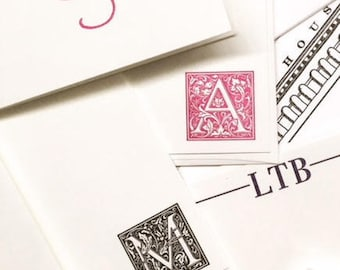 Personalized Letterpress Stationery - Decorative Initial - Set of 25 flat cards with envelopes