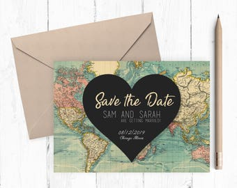 World Map Save The Date | Custom Printable Save The Date | Wedding | Heart | 7x5 | Digital Download | Vintage Save The Date |