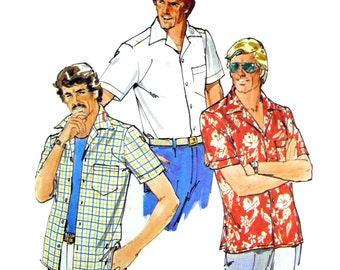 1970's Butterick 6015 Mens' Loose Fit Short Sleeve Shirt with Side Hemline Slits and Shaped Pockets Sewing Pattern Size 38 (Chest 97 cm) Men