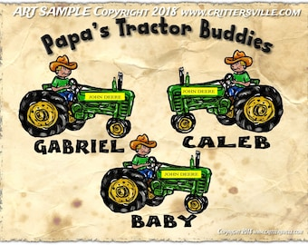 PAPA'S LIL' TRACTOR Buddies TShirt for Papa, Grandpa, Dad, Names added Free Perfect for Him All sizes Personalized for Him