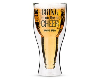 Personalized Pint Glass - Bring on the Cheer - Beer Lovers Gift - Stocking Stuffer - Personalized Gift - Pint Glass - Printed Pint Glass