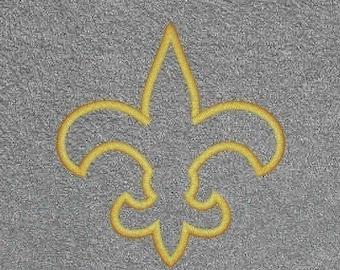 Fleur de Lis Embroidery Applique Design FIVE SIZES and 2 finishes