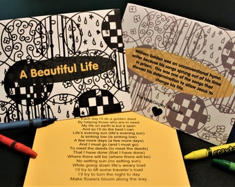 A Beautiful Life Coloring Greeting Card