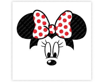 Disney, Minnie Mouse, Face, Icon Minnie Mouse Head, Mouse Ears, Digital, Download, TShirt, Cut File, SVG, Iron on, Transfer