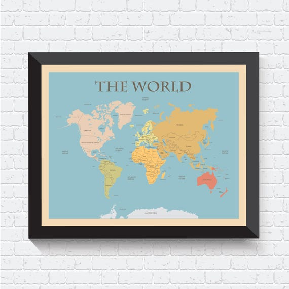 Shoptagr world map world map poster map of the world world map etsy world map gumiabroncs Choice Image