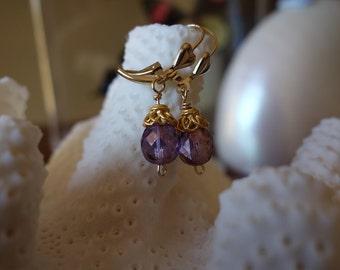 Gold purple czech beaded earrings