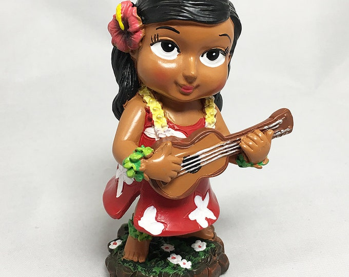 Mini Dashboard Hula Girl Keiki with Ukulele Doll