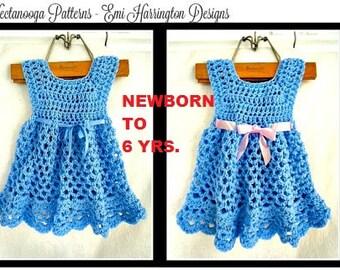 Crochet PATTERN, Baby Dress, Baby Girl Pattern, arms free, Crochet Newborn Infant Dress Pattern, Baby Girl Clothes, Crochet Baby Dress, #990