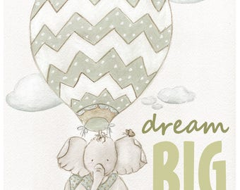 Travel Theme Nursery, Hot Air Balloon Adventure Nursery Decor, Elephant Wall Art, Dream Big Little One, Travel Baby 6 Sizes 5x7 To 24x36