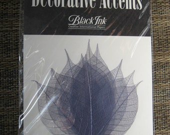 """Black Ink Decorative Accents Natural Dyed Leaves 3"""""""