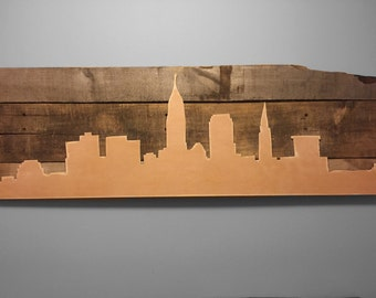 Rustic Cleveland Skyline Cut Out