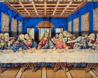 """Vintage Last Supper Velvet Tapesty..beautiful and vivid colors..this is a good one made in Italy 1970s  BIG 3'2""""× 4'6"""""""