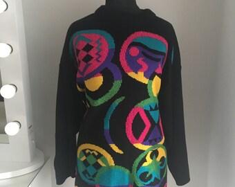 Colourful Black & Neon Vintage 80s 90s Oversized Jumper Sweater UK size 12/14/16