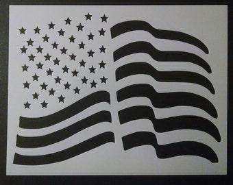 usa us United States American Flag Waving Wave Wavy Custom Stencil FAST FREE SHIPPING