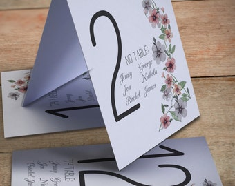 Printable table numbers, printable place card numbers, customized table numbers, table numbers with names, wedding table numbers