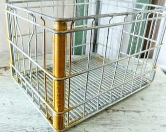 Antique Sealtest Metal Milk Crate-BoxStorage Cube Shelf, Industrial Storage, Fabulous Early Dairy Cases, Three Farmhouse Crates