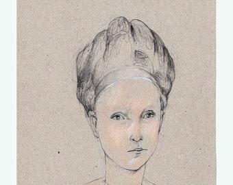 Woman Portrait art original drawing people figurative pencil