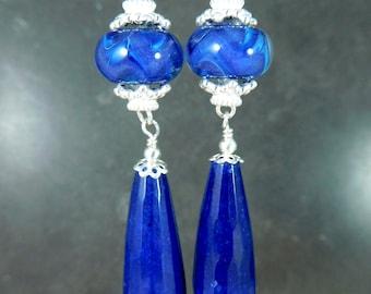 Dark Blue Purple Glass & Long Jade Teardrop Dangle Earrings, Sapphire Navy Royal Blue Boho Chic Jewelry, Sterling Silver Gypsy Boro Lampwork