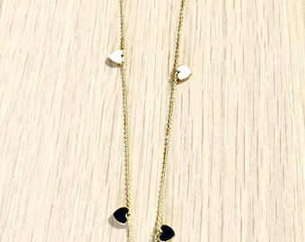 Black and white hearts gold necklace