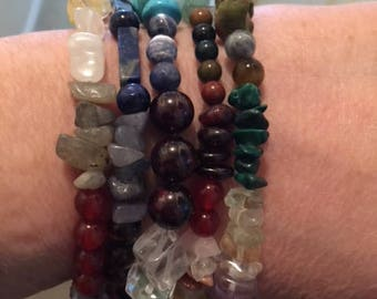 Multi gemstone multi strand bracelet