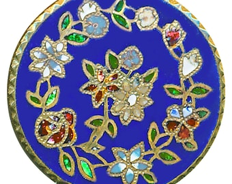 Button--Medium Late 19th C. Champleve Enamel Wreath of Flowers