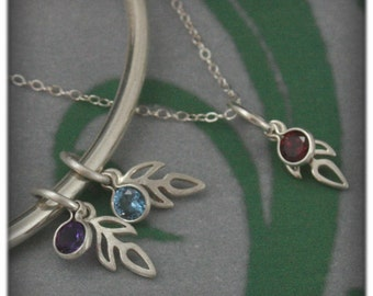 Sprout Birthstone Charm Add On~Charm ONLY~Add to your bracelet or pendant~Sterling Silver Sprout with Synthetic Birthstone~Mother's Day Gift