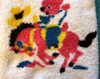 Vintage Morning Glow Small Towel With Kitschy Cute Bear Cowboy Riding Horse