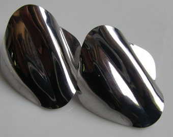 Glamorous 1980s Huge Silvertone Shiny Chrome Pierced Earrings