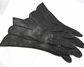 Vintage Black Leather Wrist Gloves