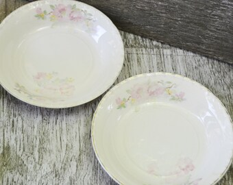 Crooksville Pottery Set of Two Bowls with Pink Dogwood LaGrande by Crooksville USA
