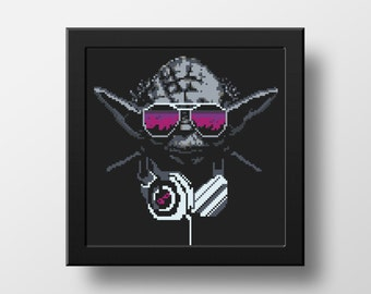Star Wars Cross Stitch Pattern Yoda  Counted Cross Stitch Modern Embroidery Chart Boy Room Decor Birthday DIY Gift PDF Instant Download